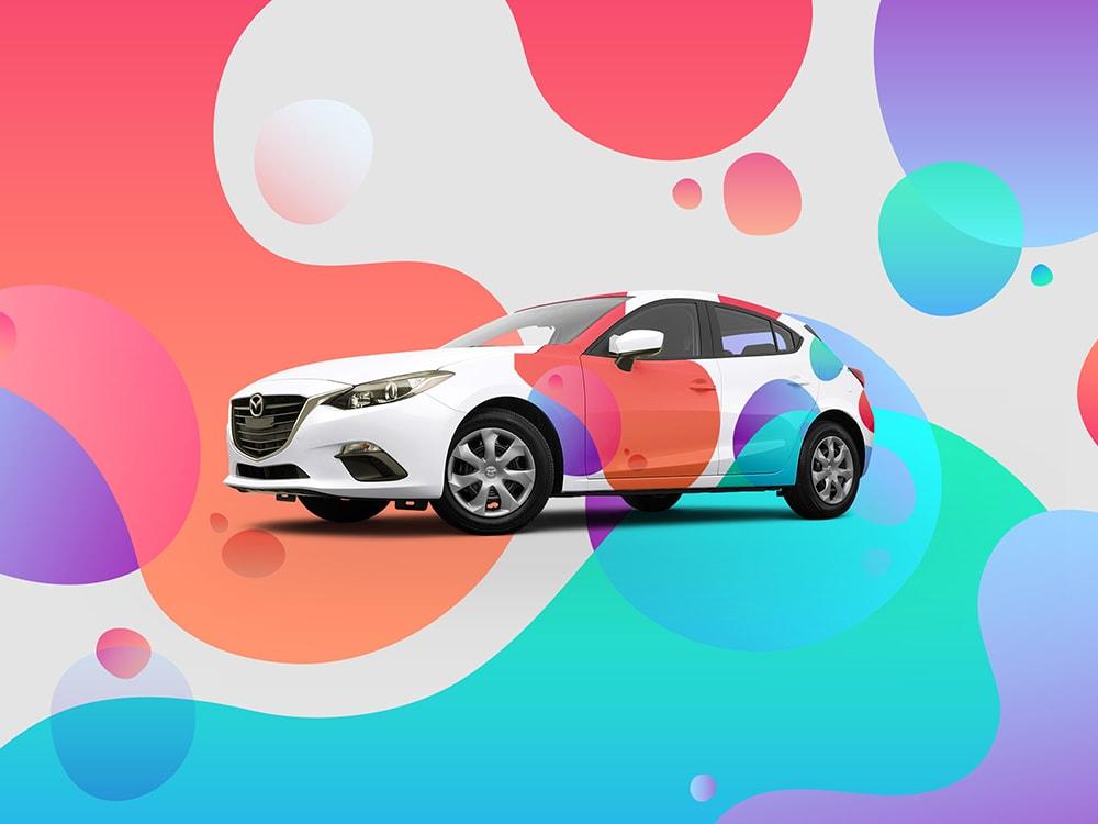 Projekto oklejania samochodu grafika na samochód