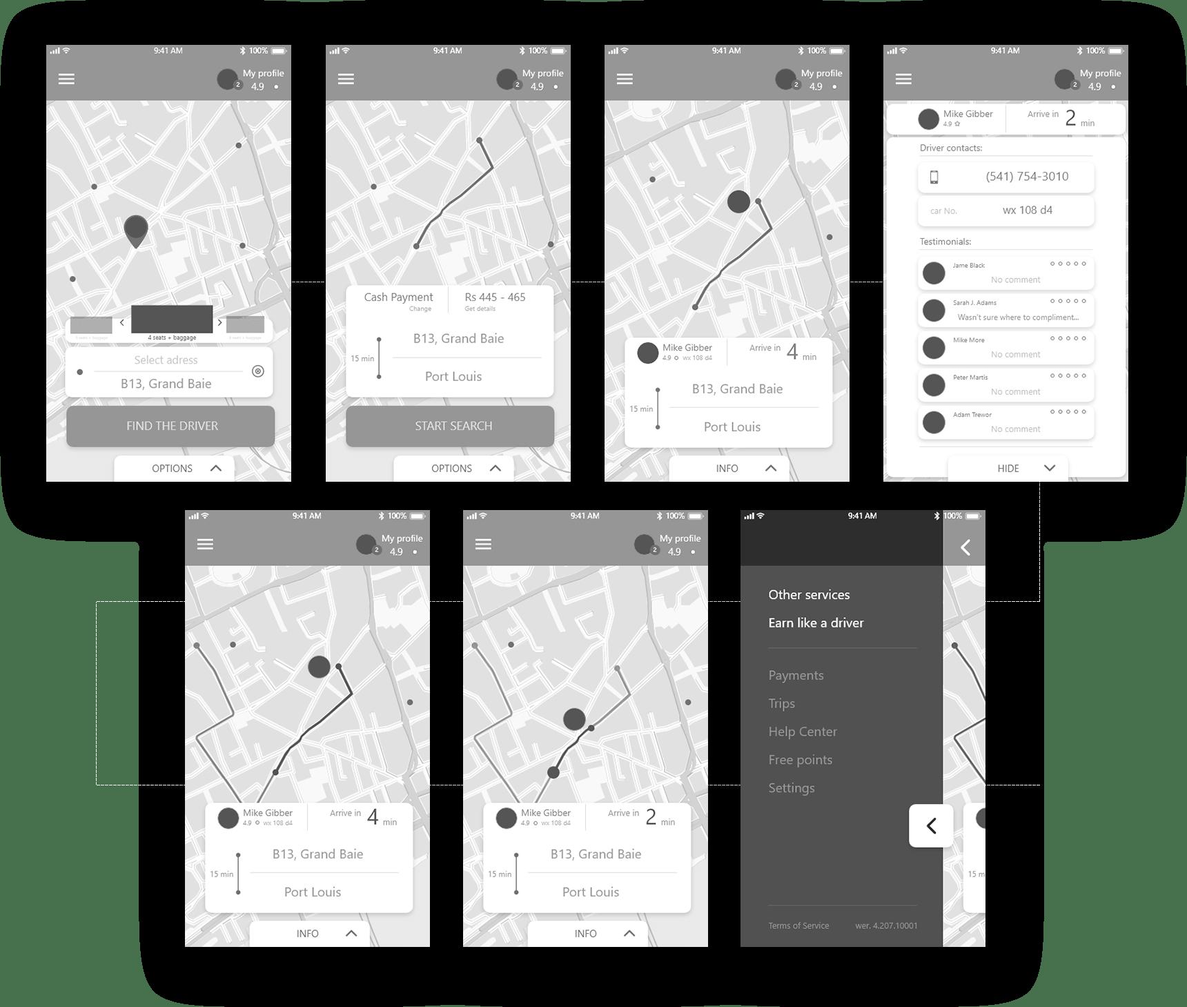 Wireframe projektu graficznego aplikacji mobilnejtaxi uber