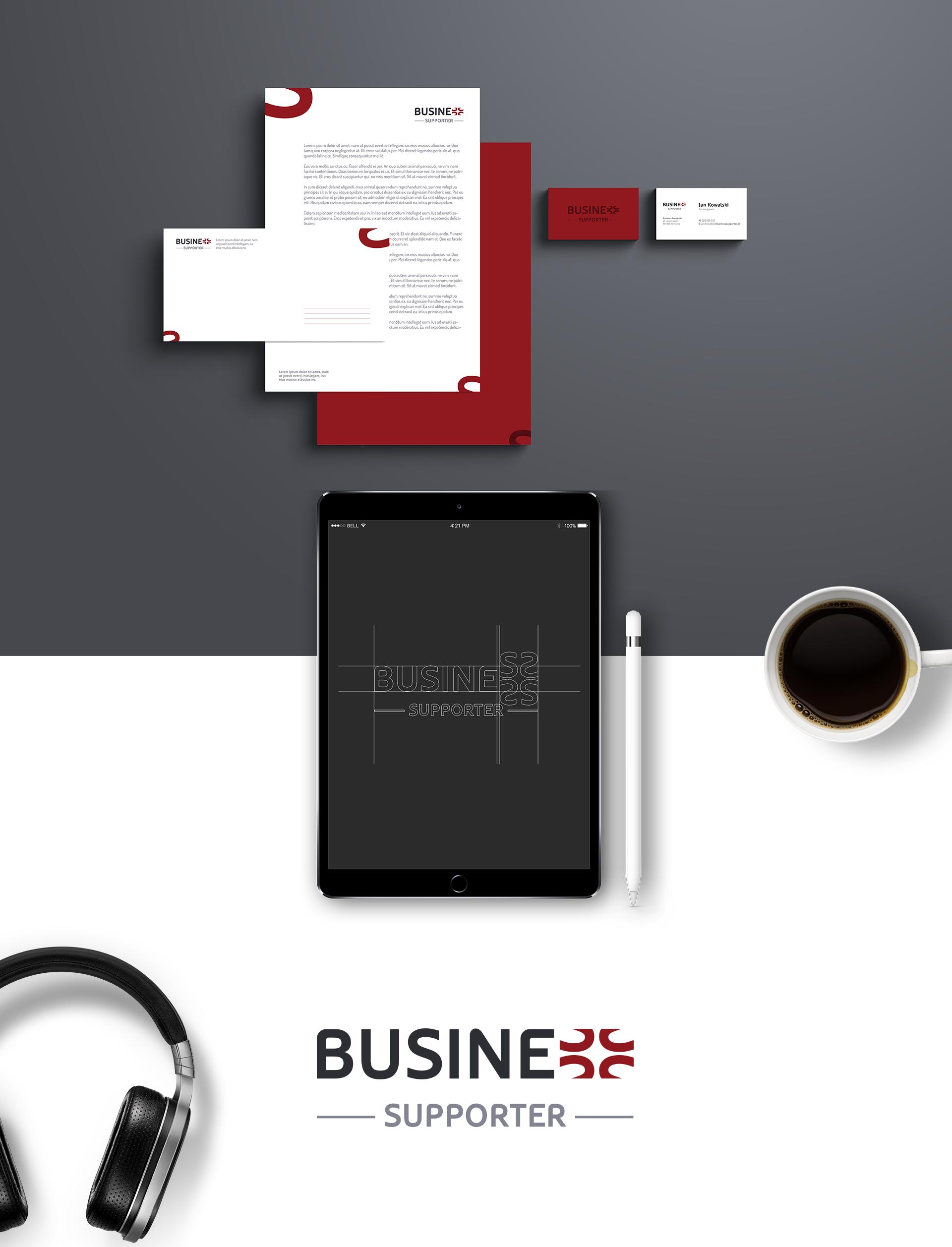Projekt graficzny identyfikacja wizualna business supporter
