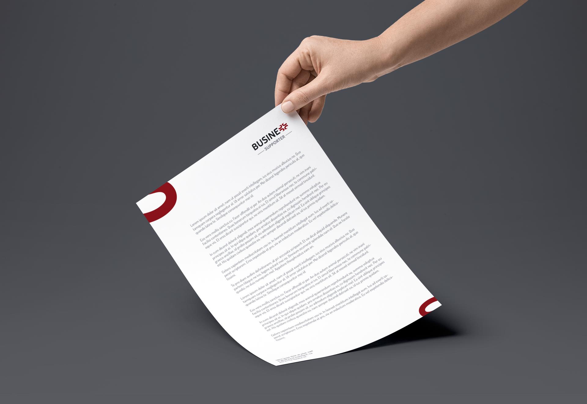 identyfikacja wizualna business supporter projekt papier firmowy